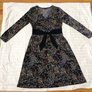 Nic + Zoe long sleeve floral fit and flare dress M